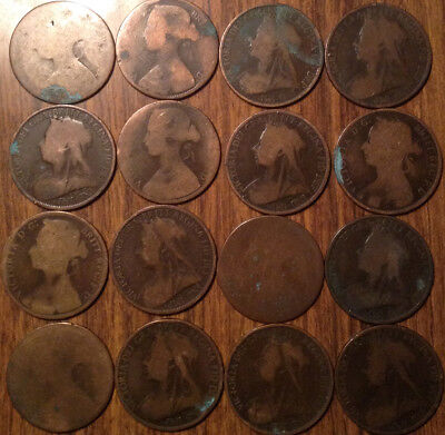 Lot Of Uk Gb Great Britain One Penny Vickies Lot Of 16 Coins