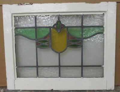 "OLD ENGLISH LEADED STAINED GLASS WINDOW Pretty Geometric Design 20.75"" x 17"""
