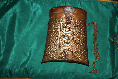 Antique India Middle Eastern Arabic Brass Copper Pocketbook Letter Holder