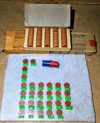 Vintage Lot of 288 WWII OPA Red RATION TOKENS Collection w/ Box BAKELITE Holder