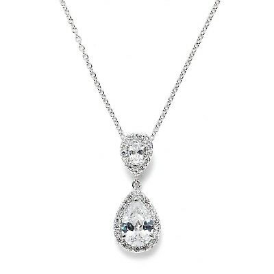 Mariell Pear-Shaped Cubic Zirconia Teardrop Bridal Necklace Pendant - Platinu...