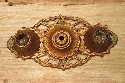 Vintage Solid Brass 2 Light Wall Sconce Antique Flowers