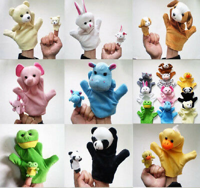 10 Family Finger Puppets Cloth Doll Educational Hand Cartoon Animal Toys Baby