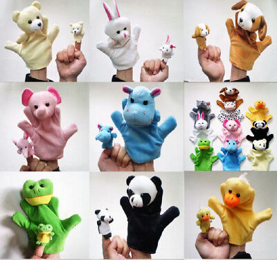 10 Family Finger Puppets Cloth Doll Educational Hand Cartoon Animal Toys Child