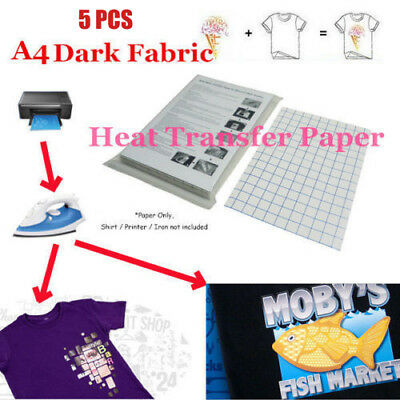 5Pcs A4 Heat Transfer T-Shirt Laser/Inkjet Iron-On Paper For Dark/Light Fabric
