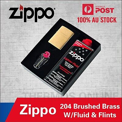 New Zippo Brushed Brass Lighter Gold Gift Box With Fluids + Flints 90204