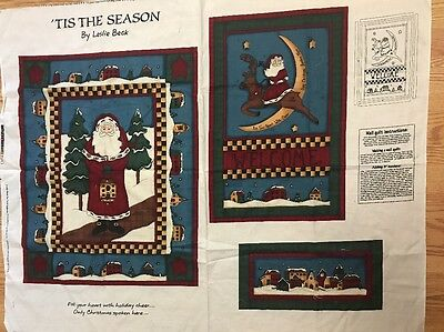 'Tis The Season Santa Moon Reindeer Welcome Wallhanging Quilt Fabric Panel