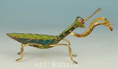Chinese CLOISONNE Collection Handmade Carved Mantis Statue Figure