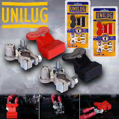 2X Unilug Two Up Dual Battery Positive & Negative Distribution Terminals +Covers