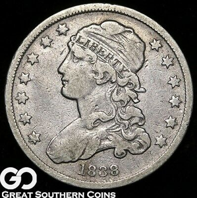 1838 Capped Bust Quarter, Tough Early Silver Type!