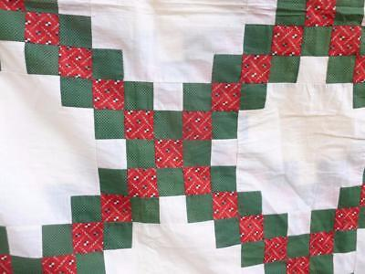 Vintage Christmas Red Green Cotton QUILT TOP All handmade 78 x 85 Hand stitched