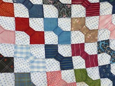 Vintage Feed Sack BOW TIE Cotton QUILT TOP All handmade 58 x 58 Hand stitched