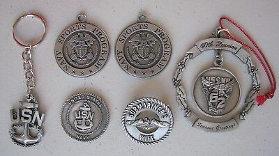 Lot Of Pewter Us Navy Memoabilia Medals, Lapel Pin, X'Mas Decoration, Key Chain