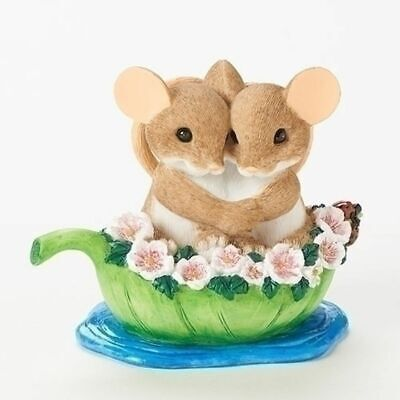"Charming Tails 2.75"" Mouse Mice Figure Love Together on Sea Leaf Boat #19380 NIB"