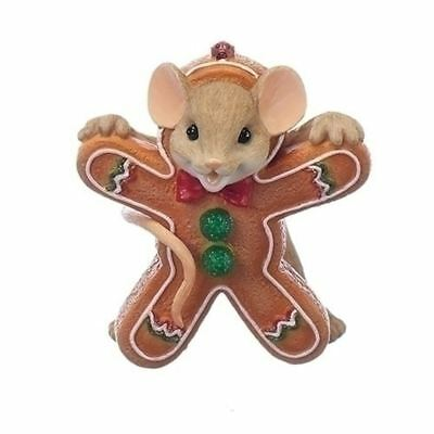 Charming Tails Christmas Mouse Gingerbread Cookie Figure #130445