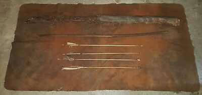 ANTIQUE c. 1850 PLAINS NATIVE AMERICAN INDIAN QUIVER BOW ARROWS BLANKET vafo