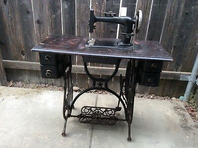 "Antique Treadle Sewing Machine Pat 1876 ""Domestic"" Serial 854159 with Extras"