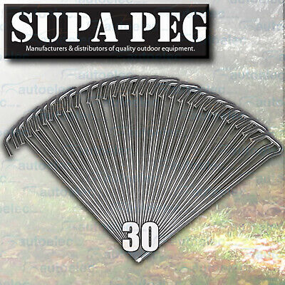 30 x 300mm x 8mm SUPA PEG TENT ANNEX PEGS HI TENSILE STEEL KEY HEAD CHISEL POINT