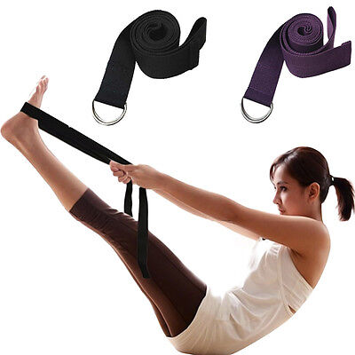 D-Ring Yoga Belt Strap Stretching Equipment Waist Leg Exercise Fitness Figures #