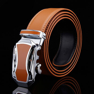 Mens Brown Genuine Leather Alloy Automatic Buckle Waistband Strap Belts Hot New.