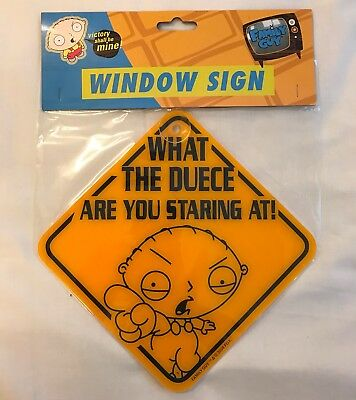 Family Guy What The Duece Are You Staring At Window Sign Suction Cup