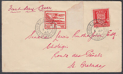 1941 & 1943 Jersey Arms 1d&Jersey Landscapes Double Occupation FDC; St Aubin CDS