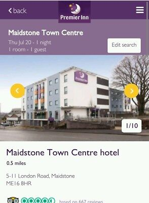 Double hotel room In Maidstone On The 27/10/17