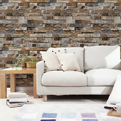 Realistic Slate Stone Brick Wall 3D Effect Textured Vinyl Wallpaper