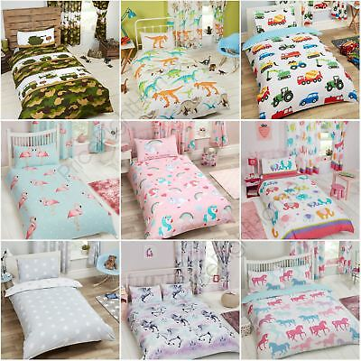 Childrens Matching Duvet Cover Sets Curtains Wallpaper Borders Unicorn Dinosaur