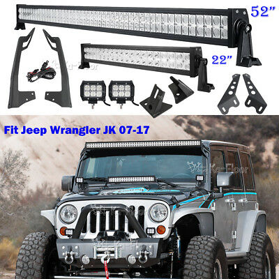 "52"" 700W +22"" +2x4"" LED Light bar +Mount Bracket Kit Fits 07~17 Jeep Wrangler JK"