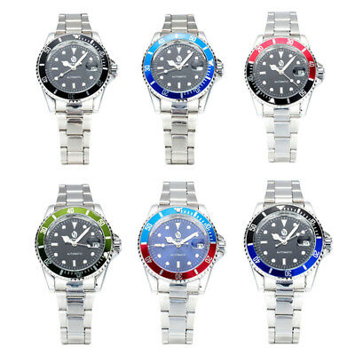 Colorful Dial Men's Date Stainless Steel Automatic Mechanical Sport Wristwatch