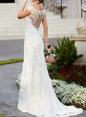 2017 HOT New Lace White Wedding dress Bridal Gown STOCK size 6 8 10 12 14 16 18