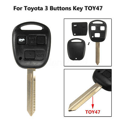 3 Buttons Remote Key Case Fob Toy47 FOR TOYOTA YARIS HIACE COROLLA AVENSIS CAMRY