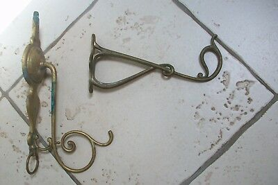 Art Nouveau Vintage French 2 x Brass Brackets Hooks wall hangers for plants