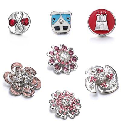 Fashion Flower Crystal Rhinestone Snap Button for Charm Accessories Gift