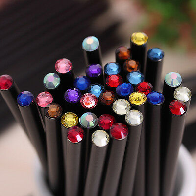 12PCS Black Wood HB Pencil With Colorful Diamond School Writing Pencils Gift.