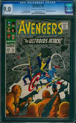 Avengers # 36  The Ultroids Attack !  CGC 9.0 scarce book !