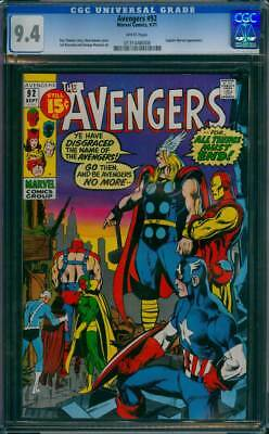 Avengers # 92  All Things Must End ; Classic Adams cover ! CGC 9.4 scarce book !