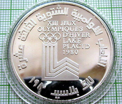 Lebanon 1980 10 Livres, Winter Olympics - Lake Placid, Silver Proof Capsule