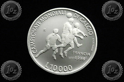 SAN MARINO 10000 LIRE 1998 (SOCCER WORLD CUP) SILVER Comm. coin (KM# 376) PROOF