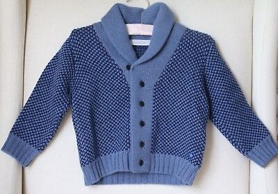 Baby Dior Boys Blue Cashmere Wool Blend Knit Cardigan 24 Months