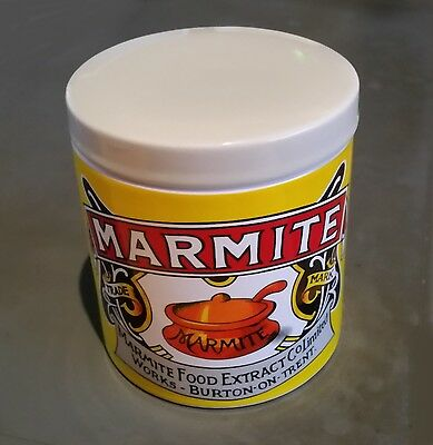 Yellow Ceramic MARMITE Storage Jar, lid & spoon *You Either Love It or Hate It!*