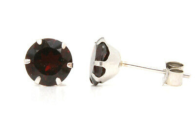 9ct White Gold Garnet earrings 6mm Studs Made in UK Gift Boxed