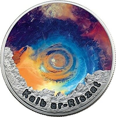 Eye of the Sahara II (Kalb ar-Riszat) Color $2 1oz Pure Silver Coin Niue 2016