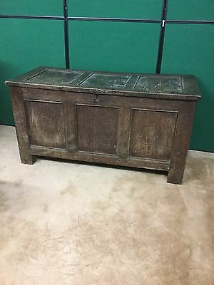 Antique English Oak Panelled Coffer / Marriage Chest