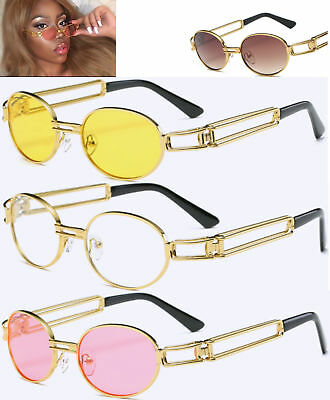 90s Sunglasses Slim Tinted 80s Hipster Vintage Retro Gold Celebrity Quavo Oval