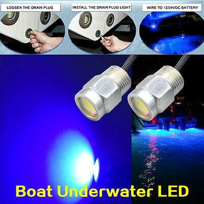 Marine yacht Boat LED lights 12W 12V Drain Plug Light Blue Underwater Stainless