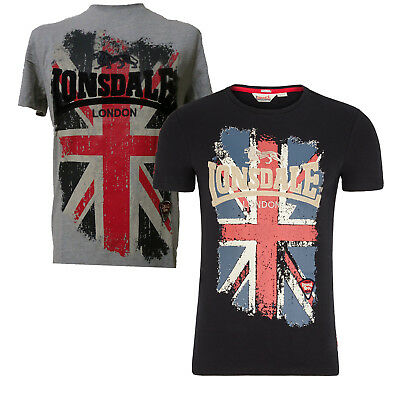 Lonsdale Jacob T-Shirt Embroided Logo Large Union Jack Black or Grey Slim-Fit