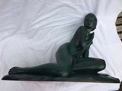 Large Art Deco green patinated terracotta nude sculpture signed Cipriani