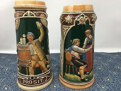2 Large Vintage German Beer Steins - Stoneware Tankard